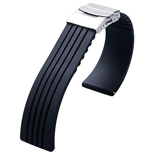 yisuya 22mm impermeable de caucho de silicona reloj de la c