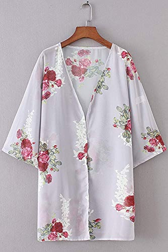 ynimioaox 3/4 manga kimono floral cardigan ocasional pura f