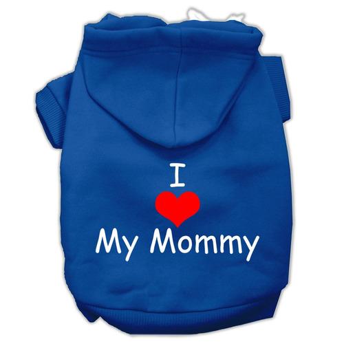 yo amar mi mamá pantalla impresión pet hoodies azul tamañ