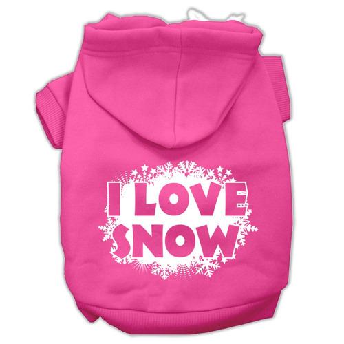 yo amar nieve serigrafía pet hoodies rosa brillante tamaño