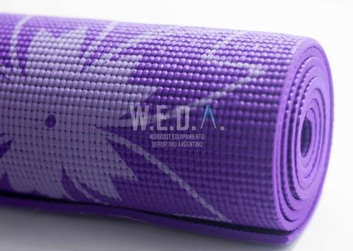 yoga mat. estampado 6mm, con correa para trasladar