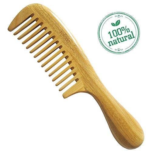 yollodo peine de madera de dientes anchos para el pelo sin a