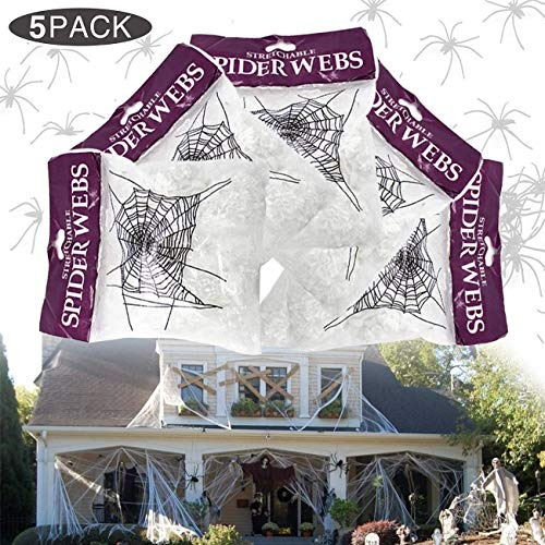 webs decoracion Yomiie Halloween Fake Stretch Spider Web Decoracin De