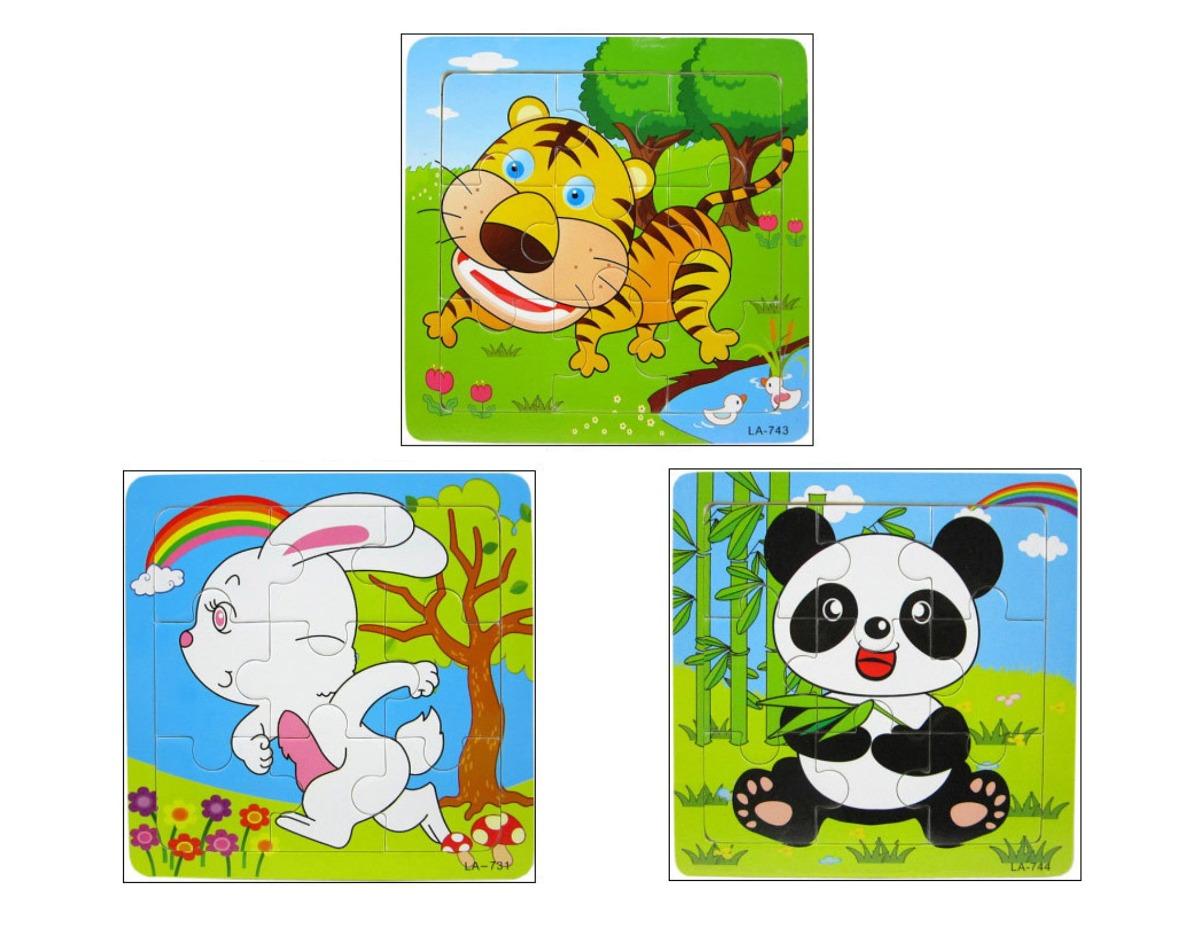 Yoyolala Animales Juego De Puzzles De Madera Panda Tiger