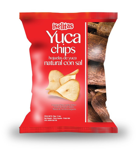 yuca chips con sal 70 grs caja de 20 unid