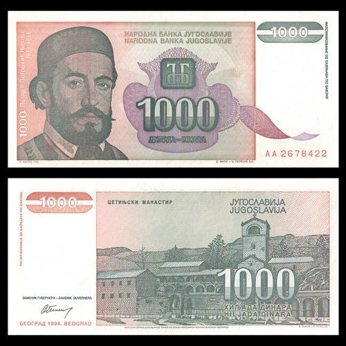 yugoslavia - billete de 1000 dinara 1994 ¡ sin circular !