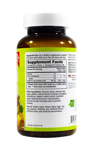 yummi bears vitamina c suplemento para niños, 132 cond...
