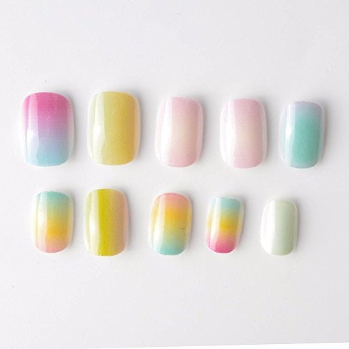yunail 24 piezas color degradado arco iris niños uñas postiz