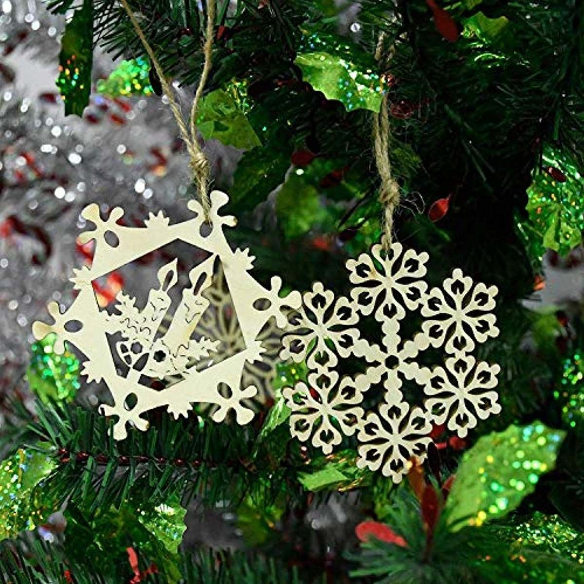 estrella navidad christmas varios colores Pendientes copo de nieve en madera