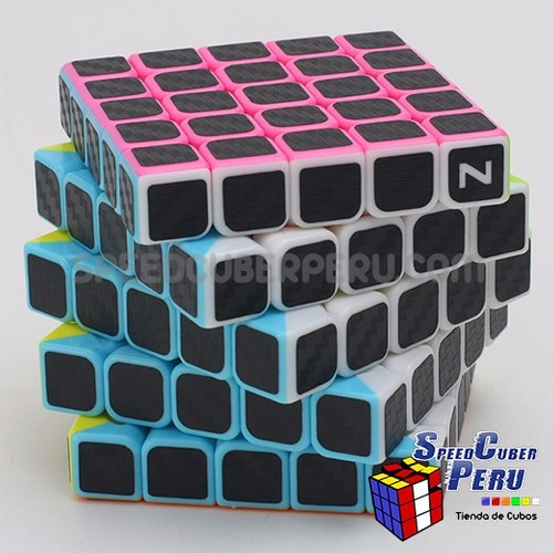 z-cube 5x5x5 with black carbon-fibre stickers cubo de rubik