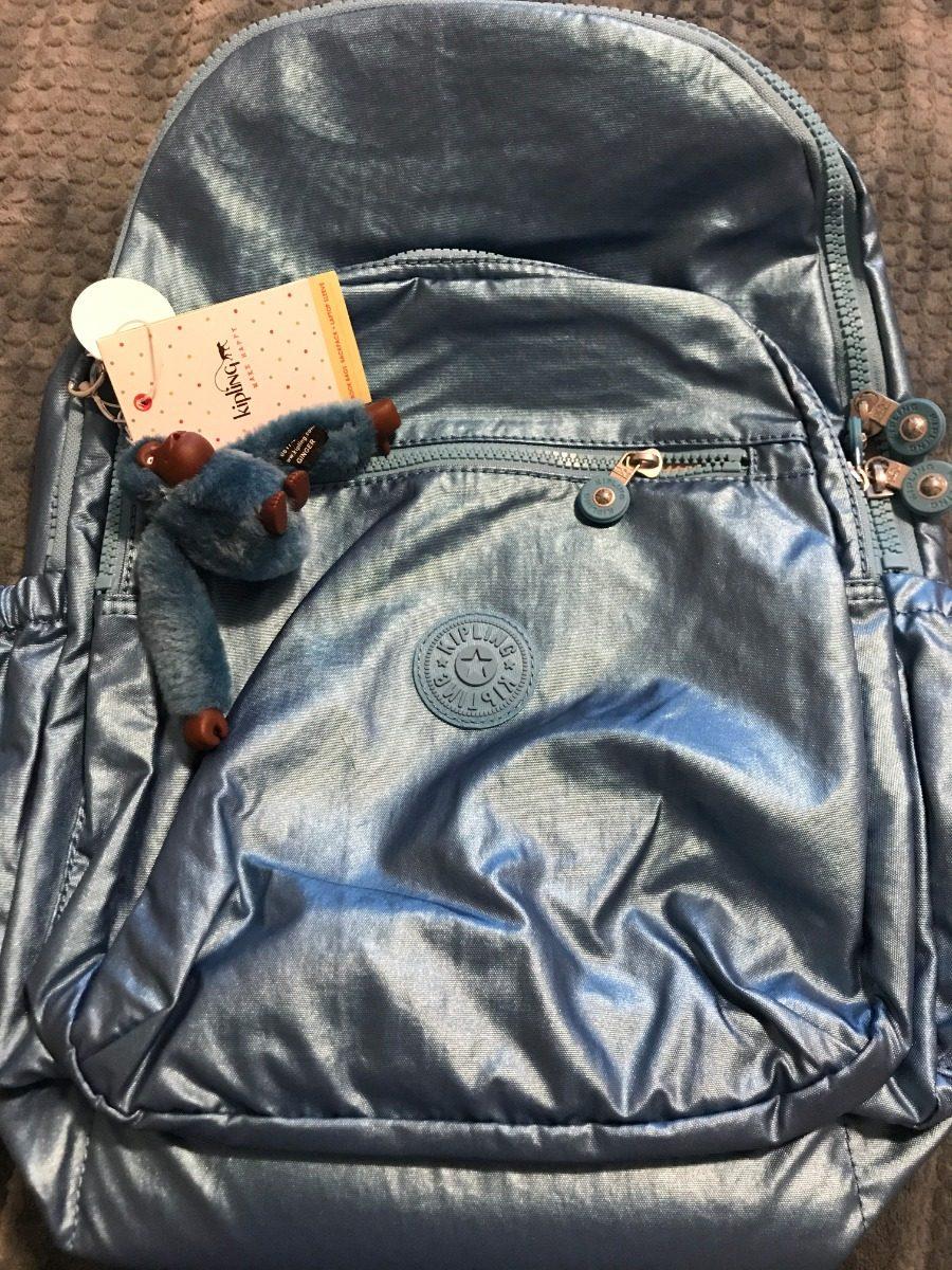 bf13e53fb Z084 Mochila Kipling Azul Metálico Original - R$ 500,00 em Mercado Livre