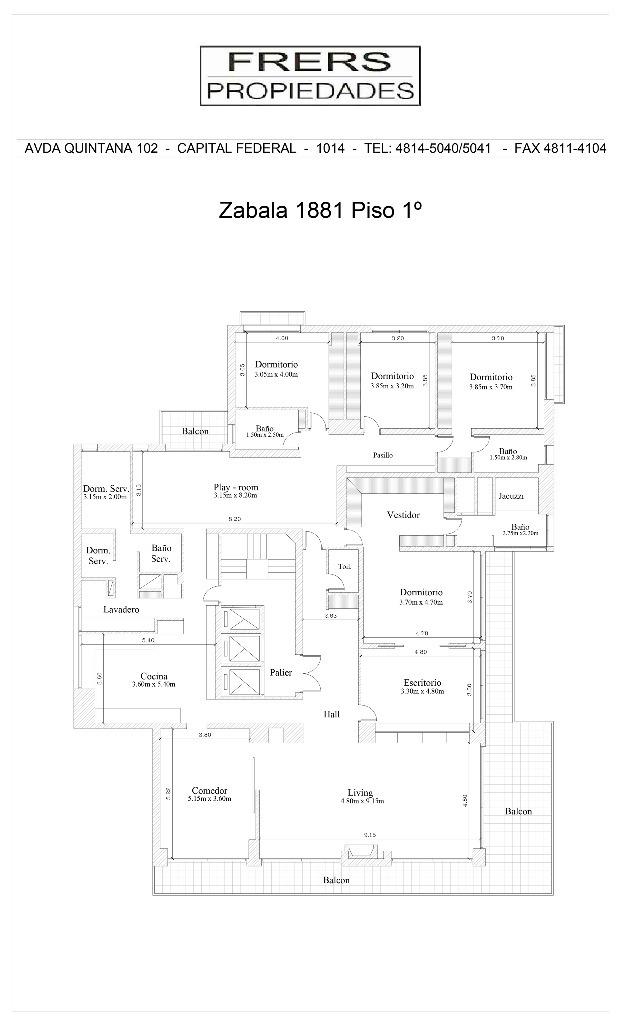 zabala 1800 1- - belgrano c/chico/barrancas - departamentos 4 o + dorm. - venta