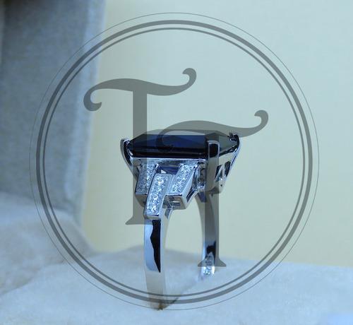 zafiro plata anillo