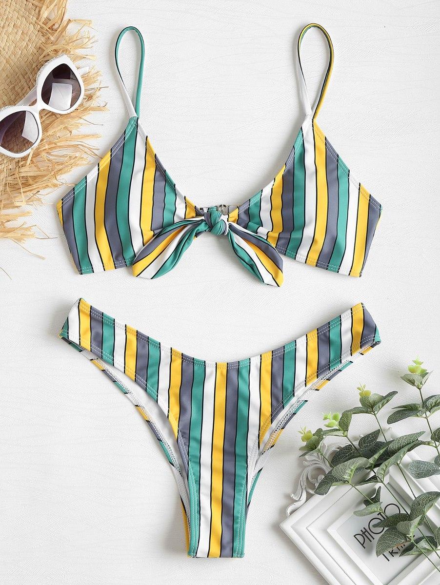 aedd6a6e1e16 Zaful Anudado Color Bloque Alto Corte Bikini Del Traje De Ba