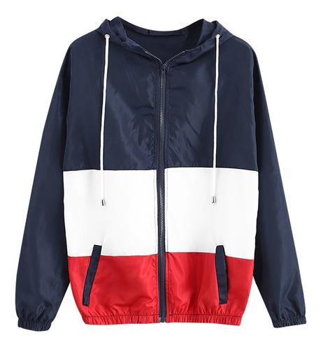 zaful chaqueta con capucha y cierre colorblock