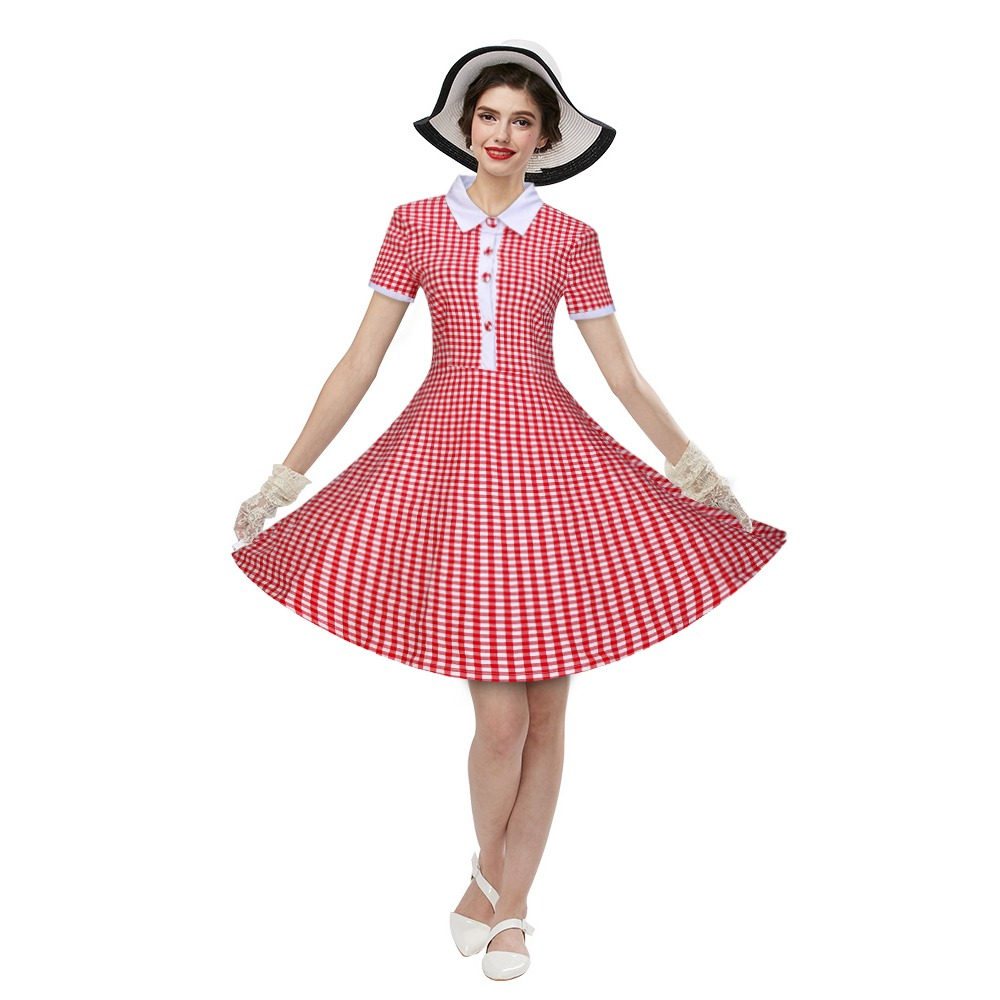 Zaful Mujer De La Vendimia Vestido De Cuadros Impresos Estil ...