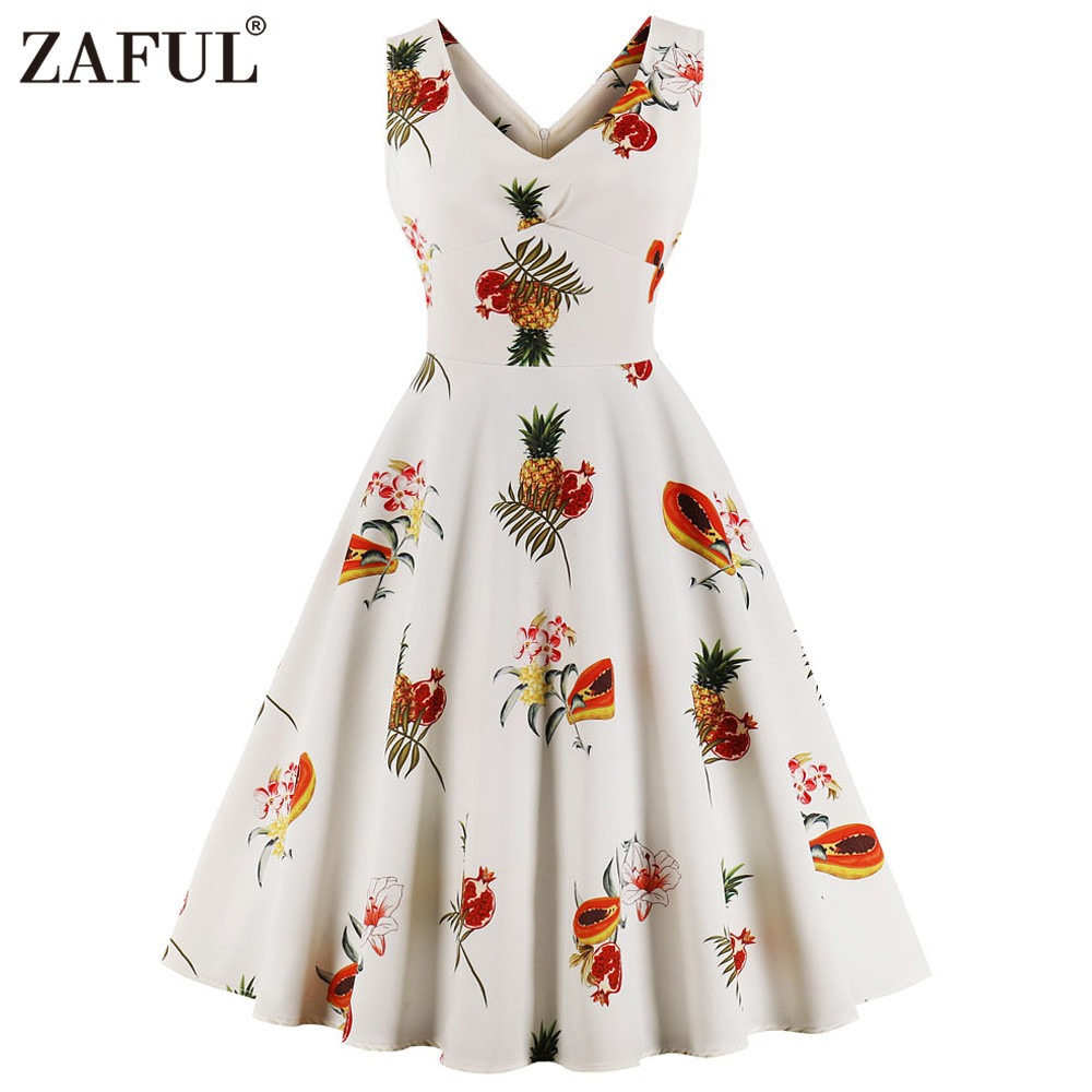 d310a73ec0c Zaful Pineapple Printing Diseño Vestido Sin Mangas Moda -   402.71 ...