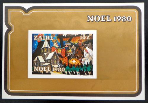 zaire arte, bloque sc. 1004 s dentar navidad 1980 mint l8652
