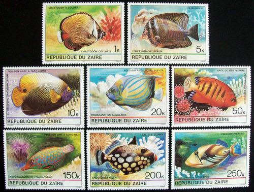 zaire peces, serie sc. 974-81 1980 mint l6621