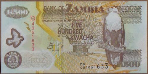 zambia, 500 kwacha 2009 p43g plastico