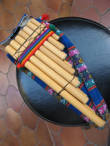 zampoña de bambú , afinada en 440, con funda, 13 tubos/notas
