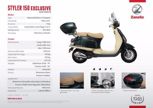 zanella exclusive 150 edicion limitada 12 ctas $5643motoroma