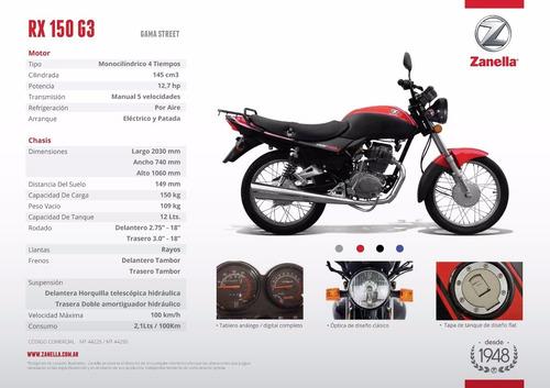 zanella rx 150 g3 2018 0km rojo moto calle 999 motos
