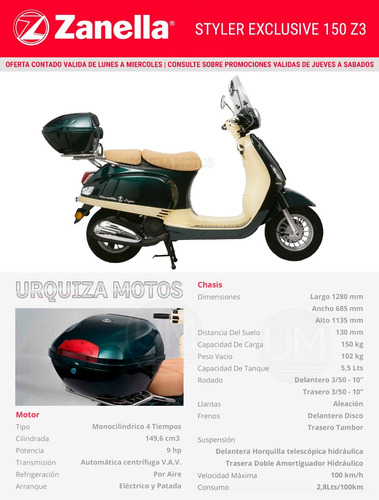 zanella styler exclusive moto scooter