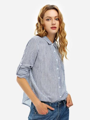 zanstyle largo manga collar blusa botón frente mininalism
