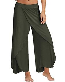ff2a051d72da Zanzea Pantalones De Mujer Con Patas Anchas De Palazzo Con C
