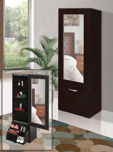 Zapatera Closet Con Espejo De Cuerpo Completo Puerta Caj 243 N