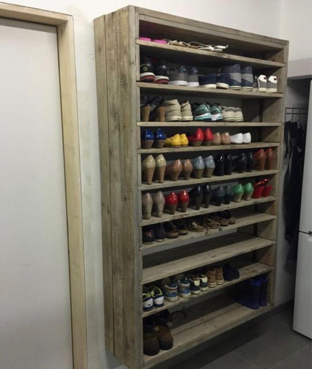 Zapatera de madera pallet en mercado libre for Modelos de zapateras en closet