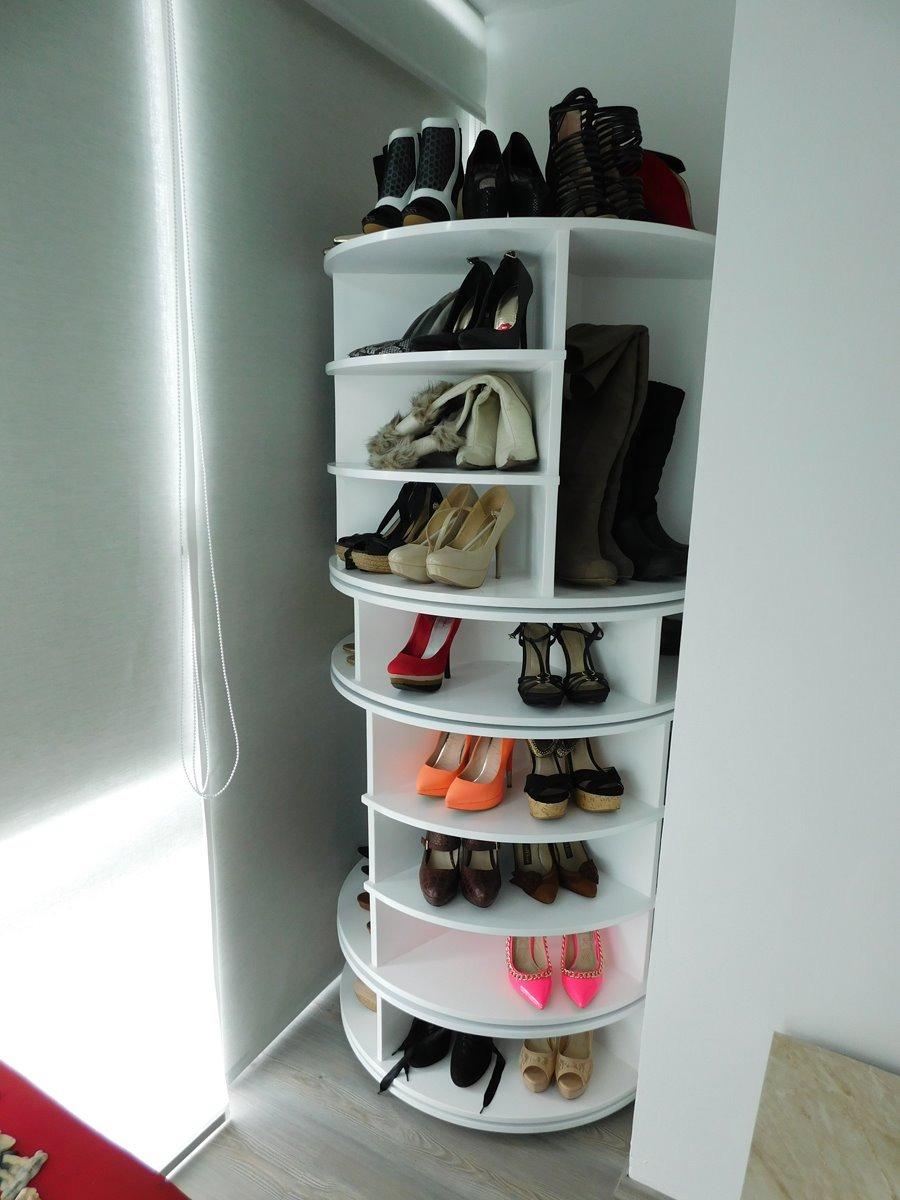 Zapatera giratoria 14 en mercado libre for Muebles para zapatos en melamina