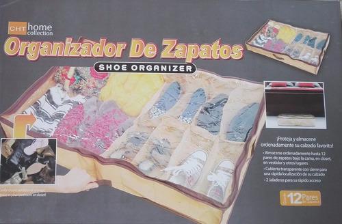 zapatera organizador 12 pares para colocar bajo la cama ypt