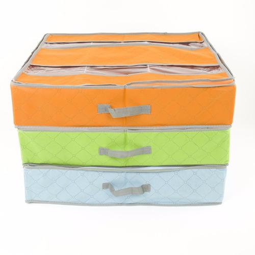 zapatera organizador debajo cama compacta 6 pares verde