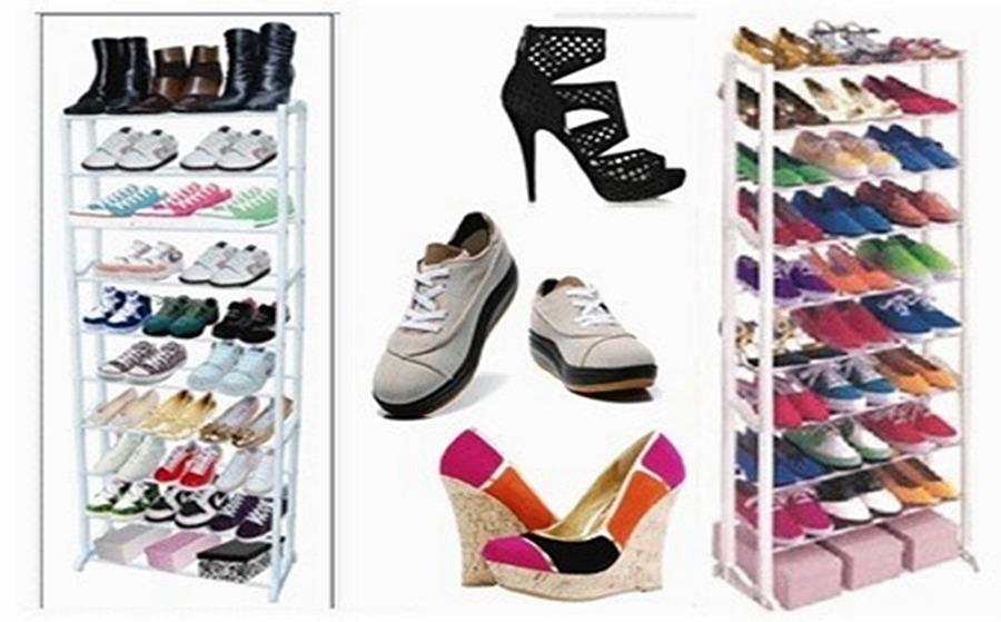 Zapatera rack para 30 pares de zapatos 10 niveles for Zapatero para 30 pares de zapatos