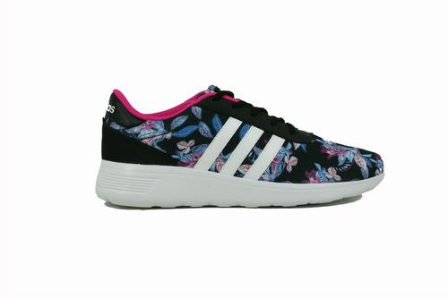 zapatilla adidas neo lite rice flores/negro dama deporfan