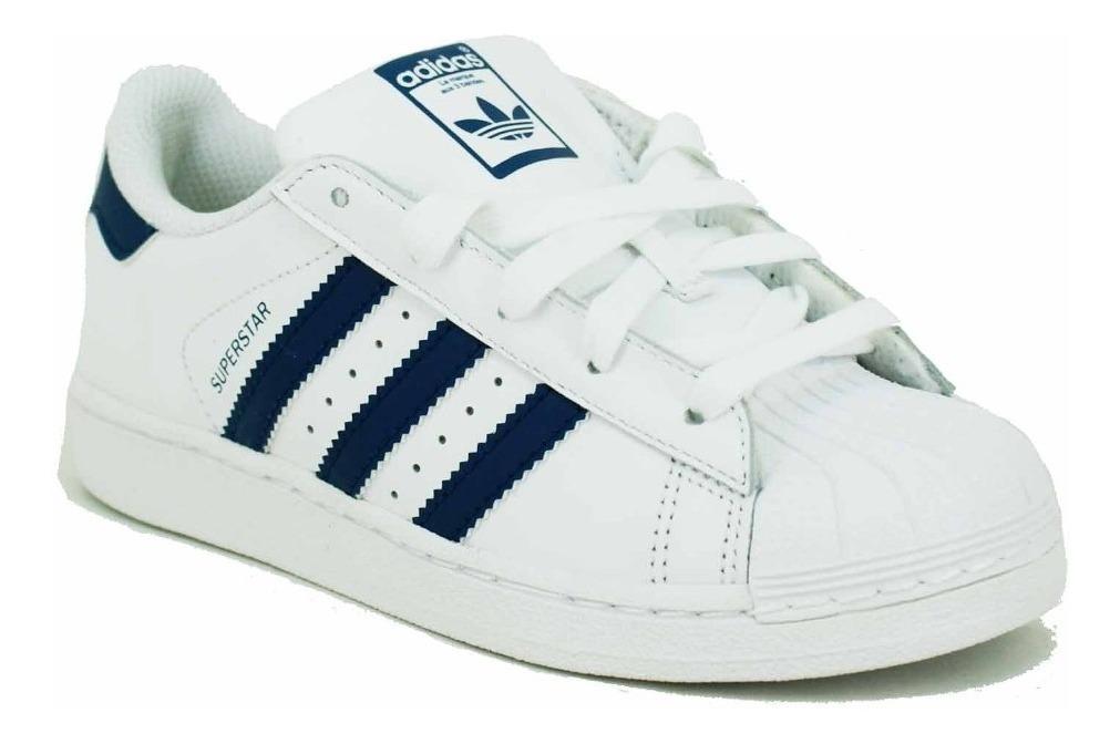 Adidas Superestrella J Zapatos Negro Blanco Azul bb0353