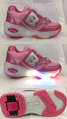 zapatilla b con ruedas y luces de niña