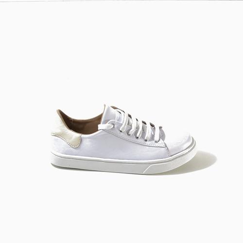 zapatilla blanca / crema  mujer