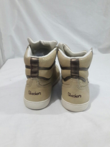 zapatilla con caña cuero sintético marca skechers n°40 beige