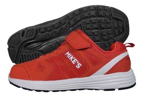zapatilla con velcro y cordón elasticado roja