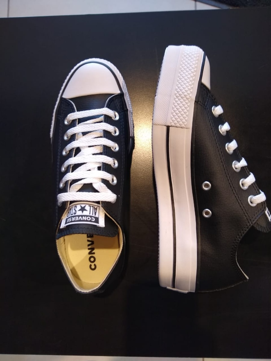 Zapatilla Converse All Star Leather Cuero Plataformas Negro