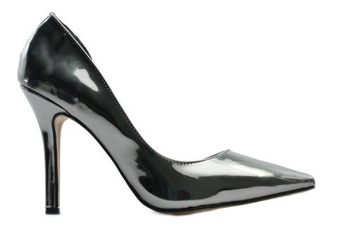 zapatilla de tacon para dama color gris espejo   erez