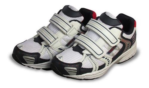 zapatilla  escolar niño blanca azul