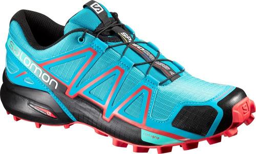 zapatilla femenina salomon- speedcross 4 w celeste/anaranjad