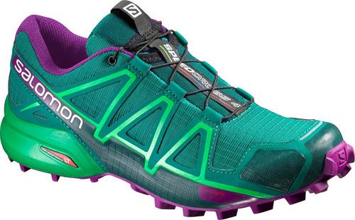 zapatilla femenina salomon- speedcross 4 w verde/morado