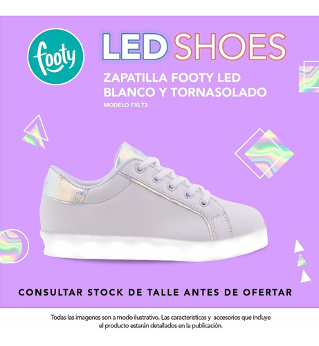 zapatilla footy led blanco y tornasolado fxl73 pc
