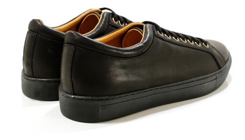 zapatilla hombre cuero urbana negra diseño daven by ghilardi