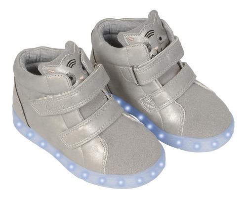 zapatilla luces gris caña alta con velcro niña colloky